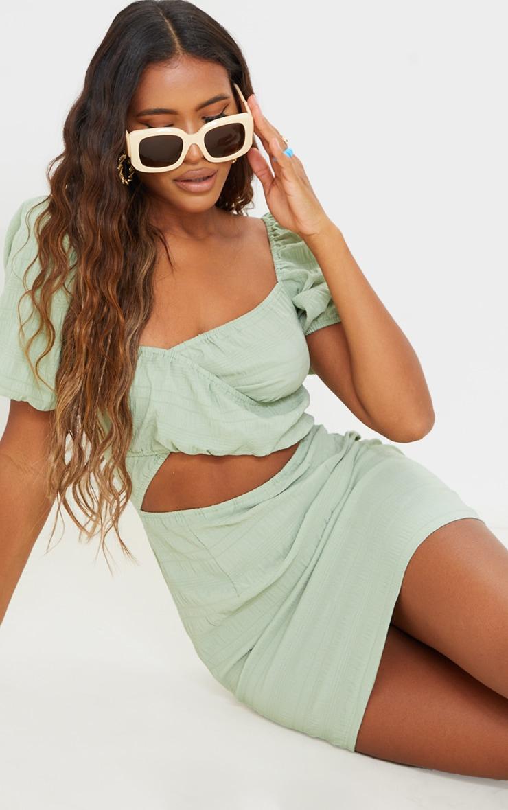Sage Green Textured Linen Cut Out Puff Sleeve Shift Dress 4