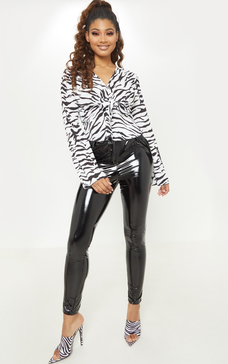 Tall White Zebra Print Wide Sleeve Tie Front Top 4