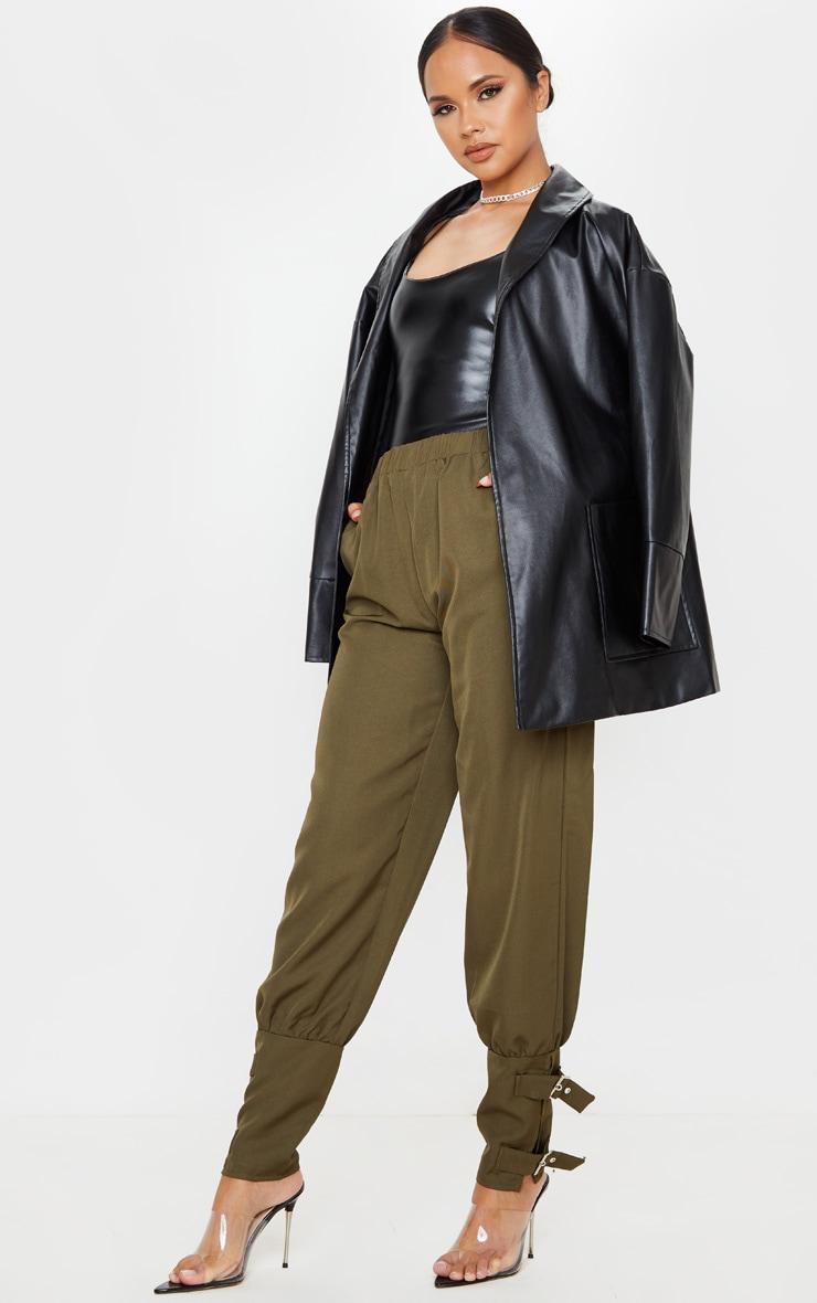 Khaki Buckle Cuffed Cargo Pants 1