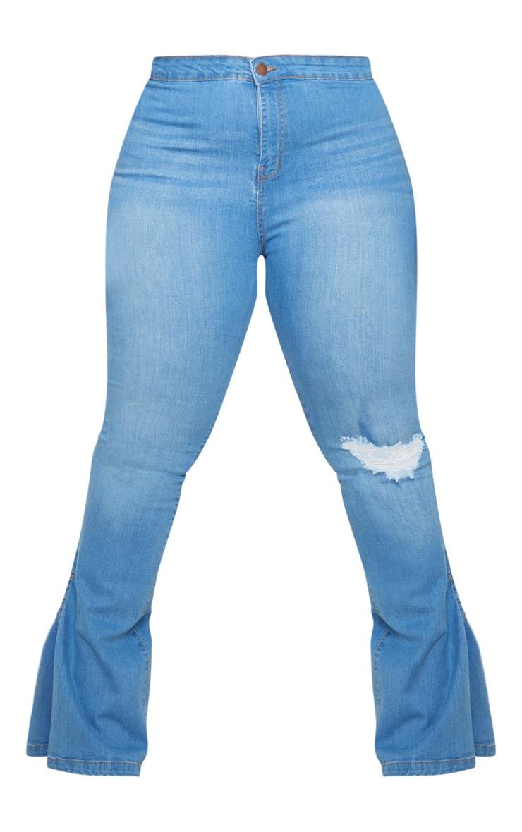 Plus Light Blue Wash Knee Rip Flared Jean 4