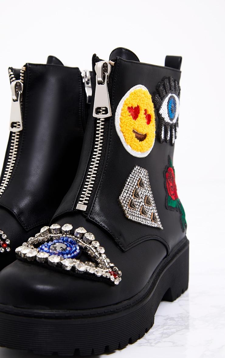 Carinia Black Applique Ankle Boots 5