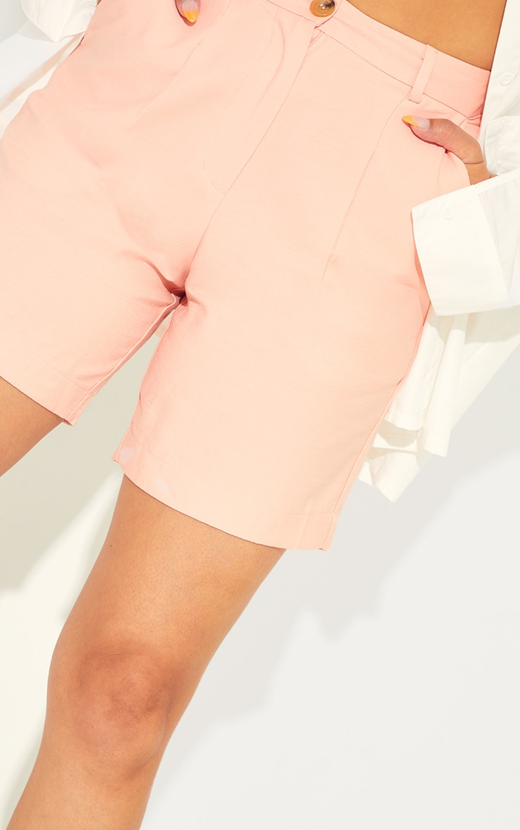 Pink Textured Woven City Shorts 5