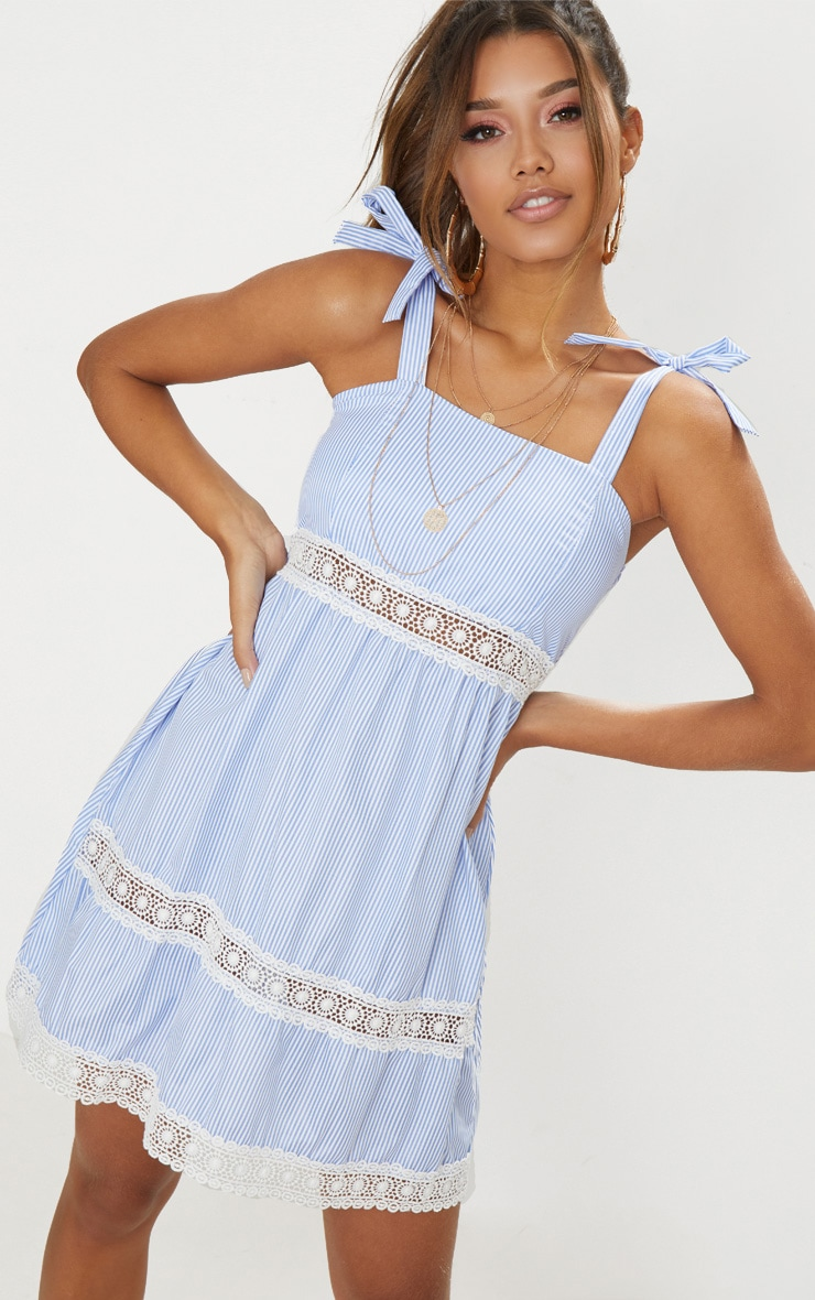 Blue Tie Strap Lace Detail Smock Dress 1