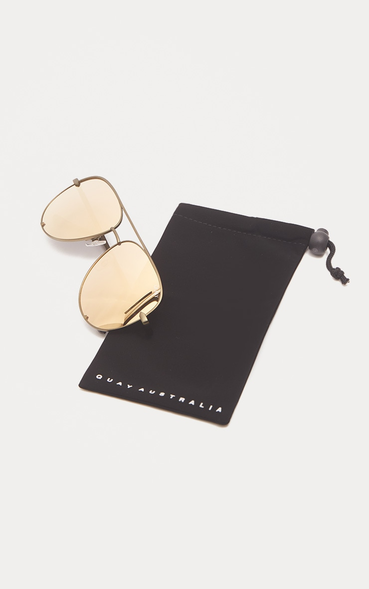 QUAY AUSTRALIA Gold The Playa Aviator Sunglasses 3