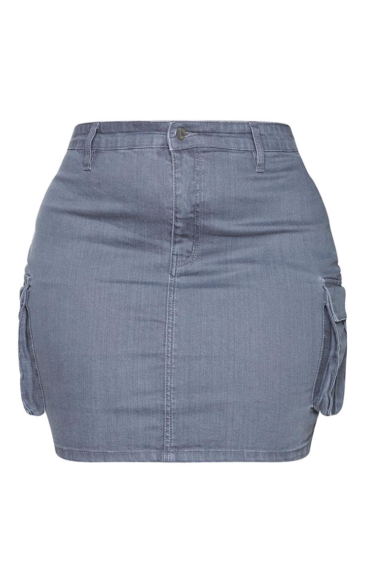 Plus Grey Denim Cargo Pocket Skirt 6