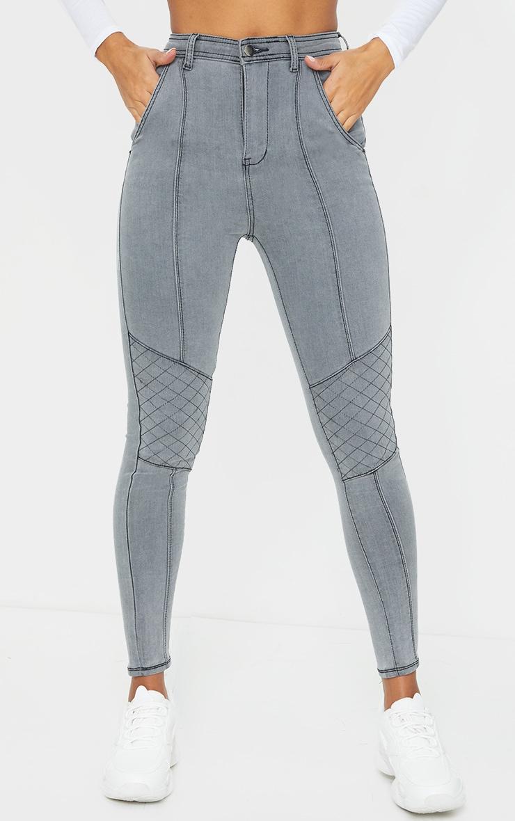 Washed Grey Denim Biker Jeans 2