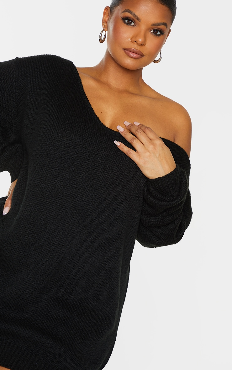 Plus Black Soft Knitted Off Shoulder Mini Dress 4