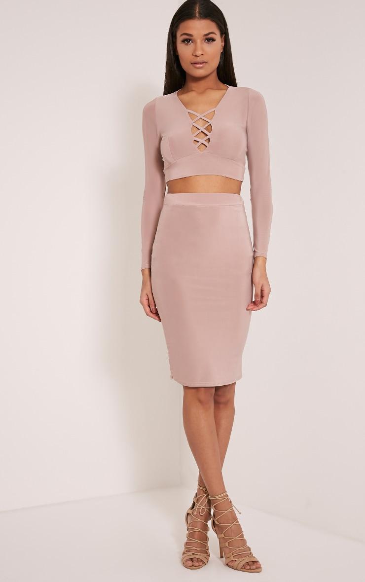 Malin Dusty Pink Slinky Midi Skirt 1