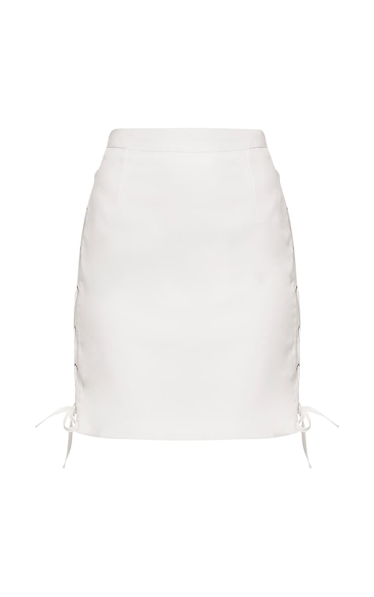 Zoya White Lace Up Side Mini Skirt 3