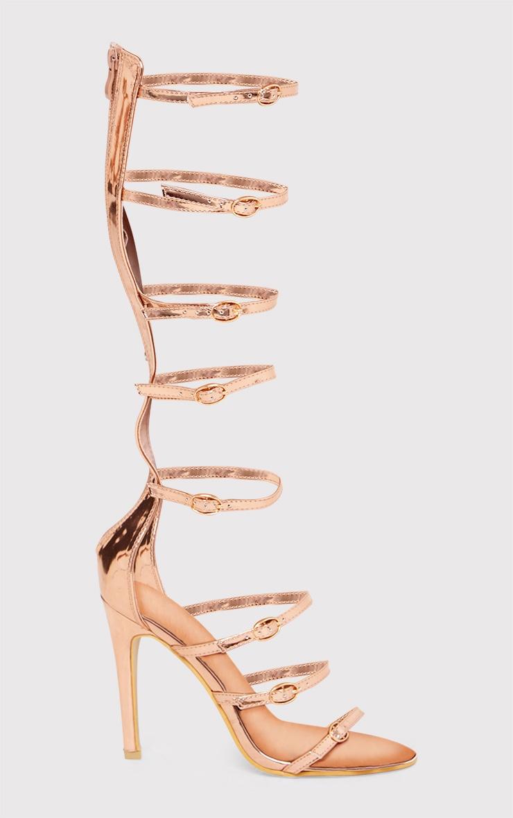 Josia sandales multi-brides or rose métallisé 1