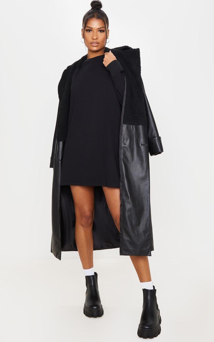 Black Oversized Long Sleeve Crew Neck T Shirt Dress 3