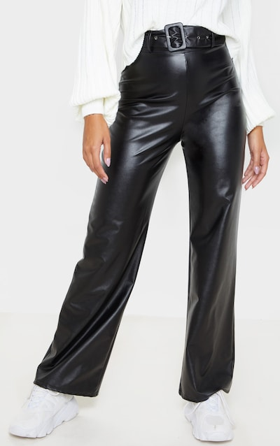 Black Faux Leather Belted Wide Leg Trouser