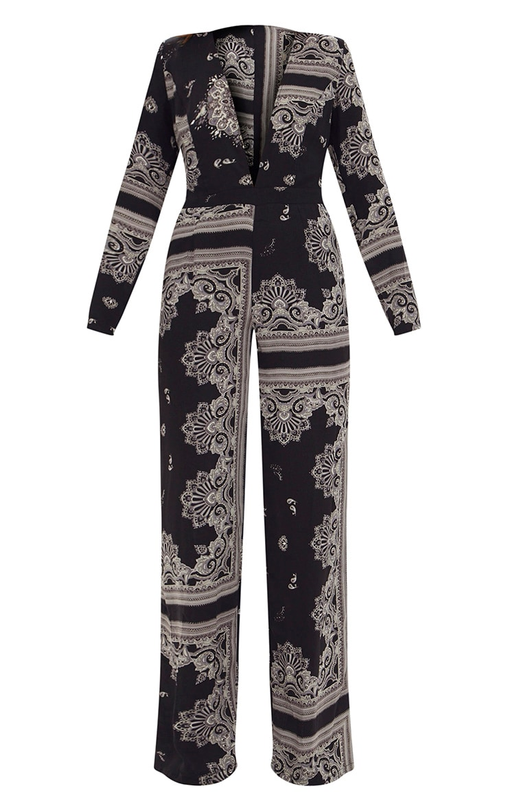 Black Scarf Print Long Sleeve Plunge Jumpsuit 3