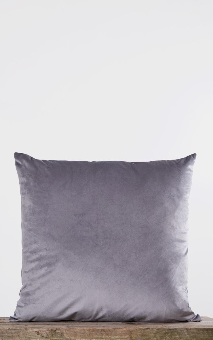 Grey Large Velvet Filled Cushion 3