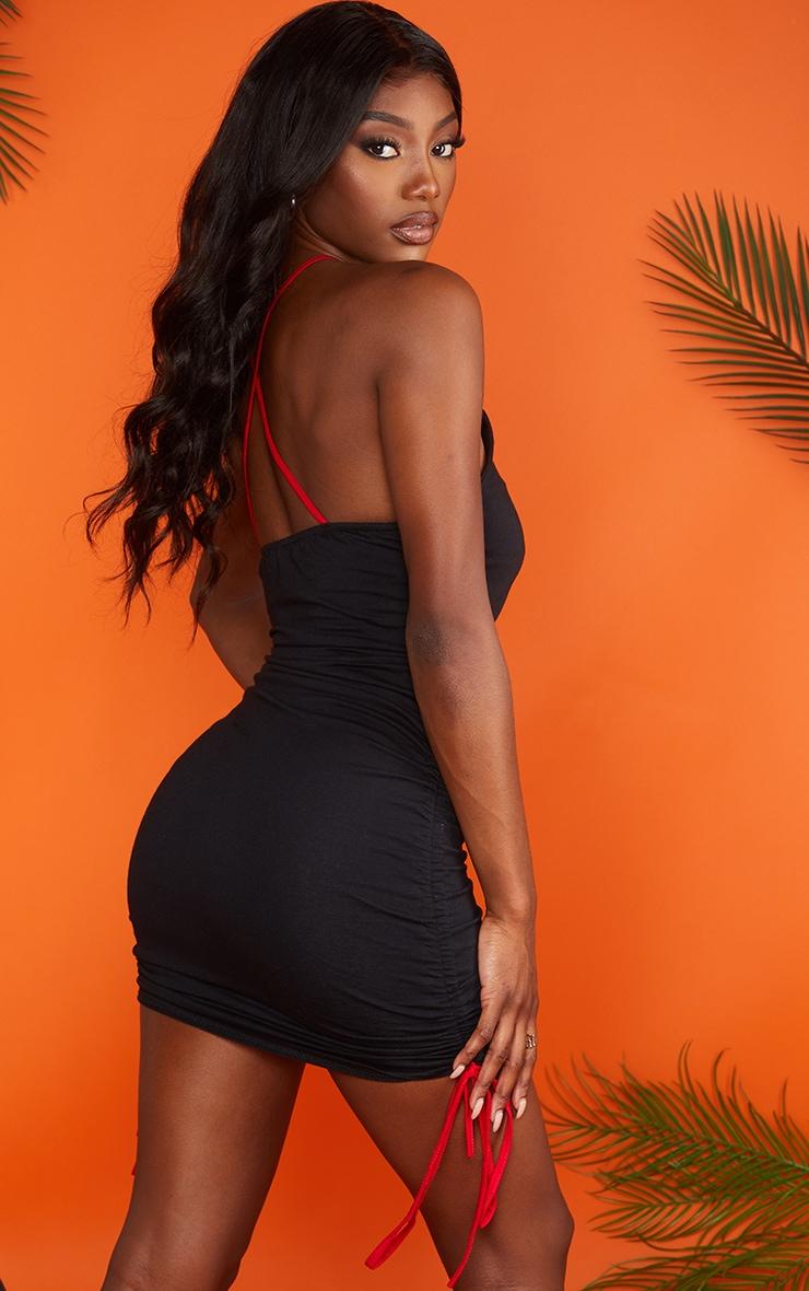 Black Ruched Mala Bodycon Dress 2