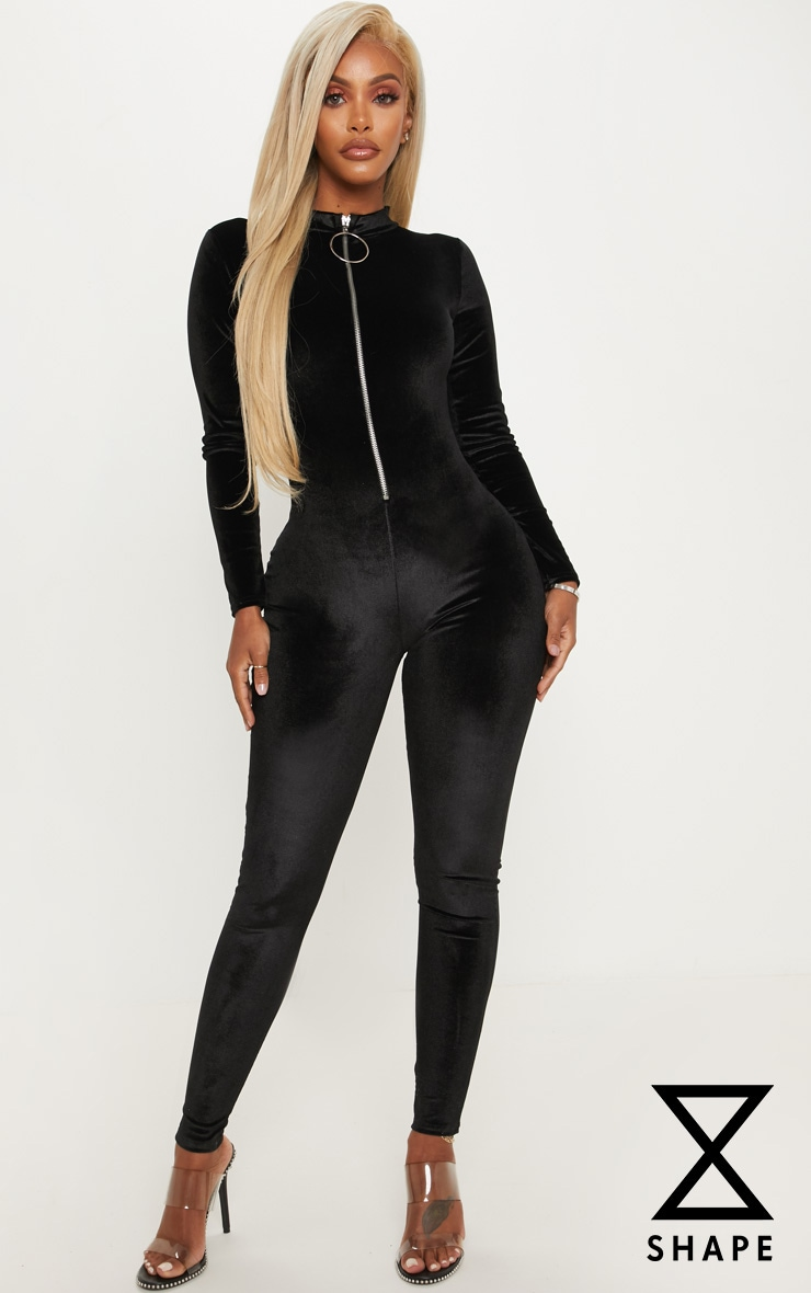 Shape Black Zip Detail Velvet Unitard