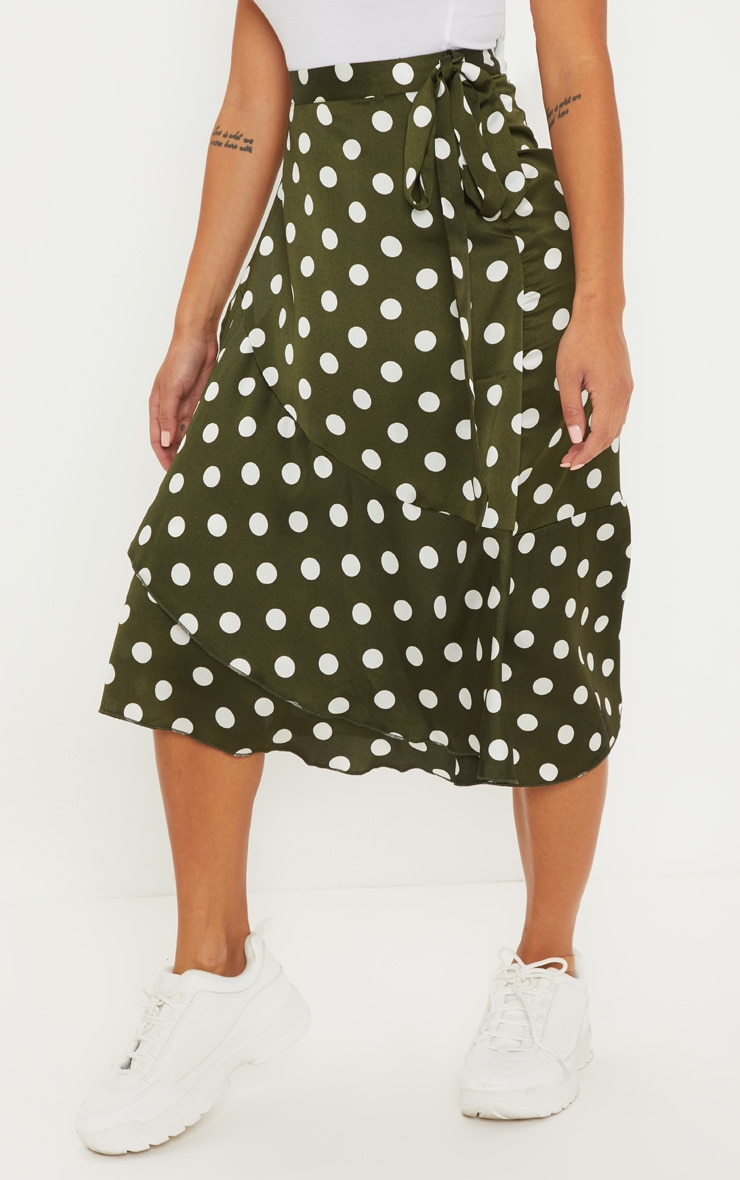 Petite Sage Green Satin Polka Dot Wrap Skirt 2