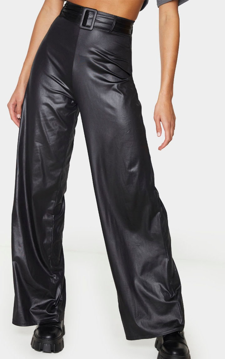 Black Faux Leather Belted Wide Leg Trousers 3