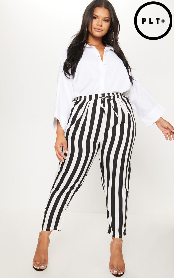 Plus Black Striped Casual Trousers  1
