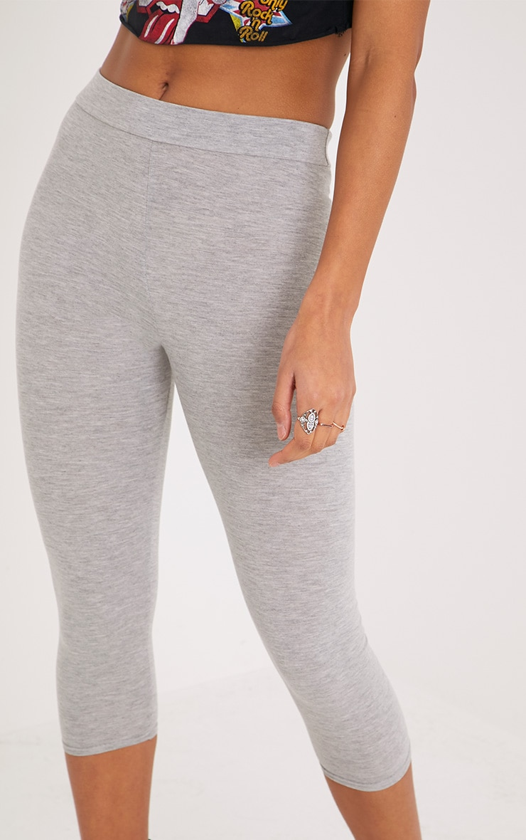 Basic Grey Cropped Jersey Leggings 5