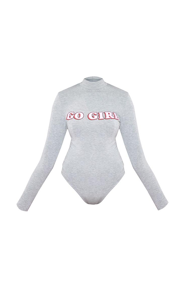 Go Girl High Neck Long Sleeve Bodysuit Grey 3