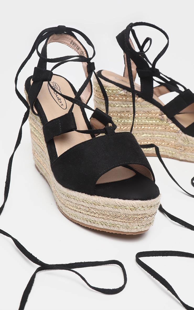 Black Ghillie Lace Up Espadrille Wedge Sandal 3