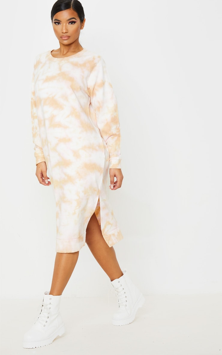 Blush Tie Dye Oversized Long Sleeve Sweat Midi Dress  1