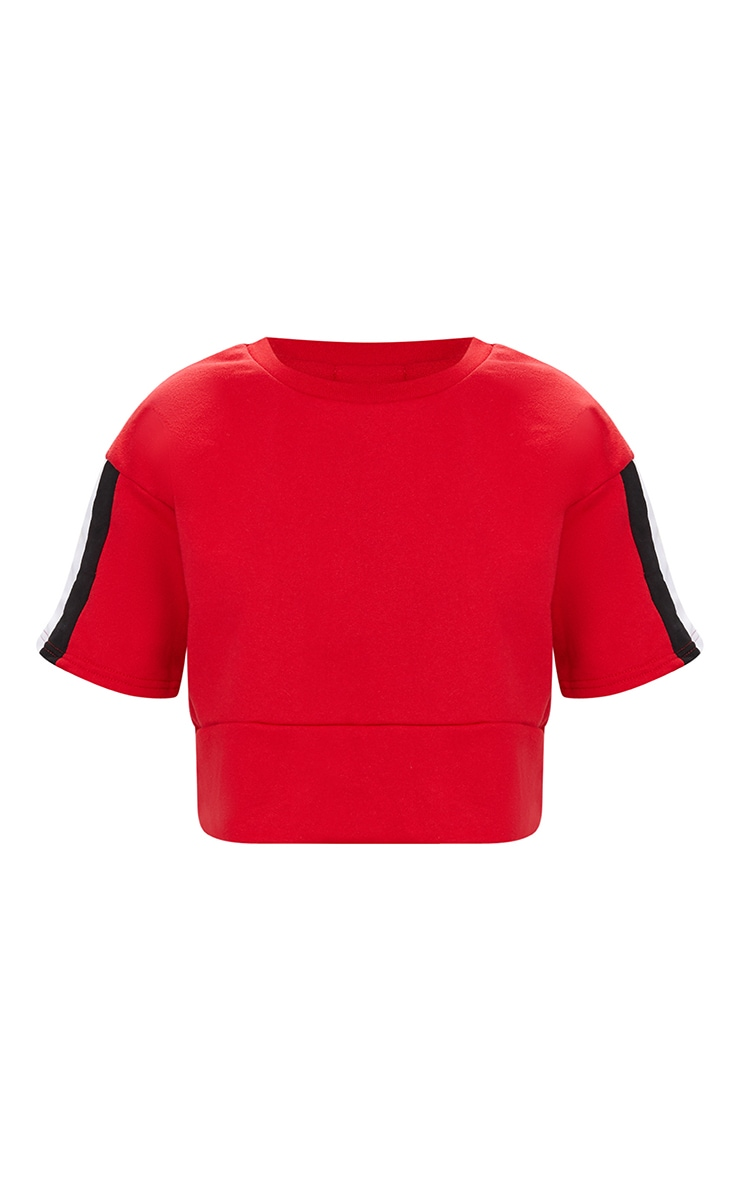 Red Contrast Panel Oversized Short Sleeve Sweater  3