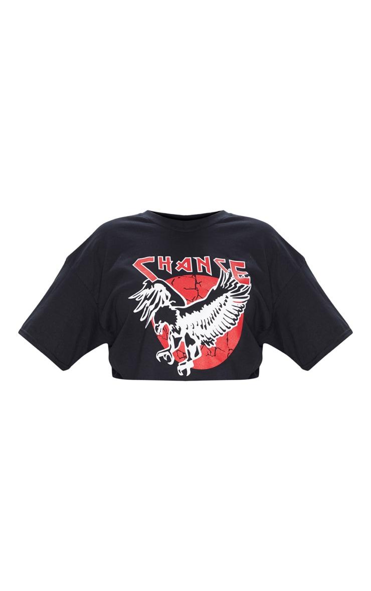Plus Black Chance Slogan Extreme Cropped T-Shirt 3