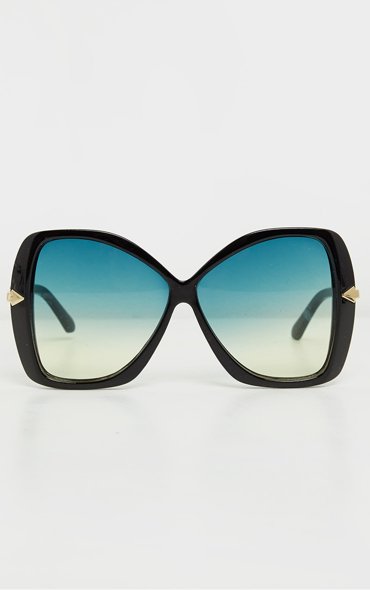 Black Oversized Angled Square Sunglasses 2