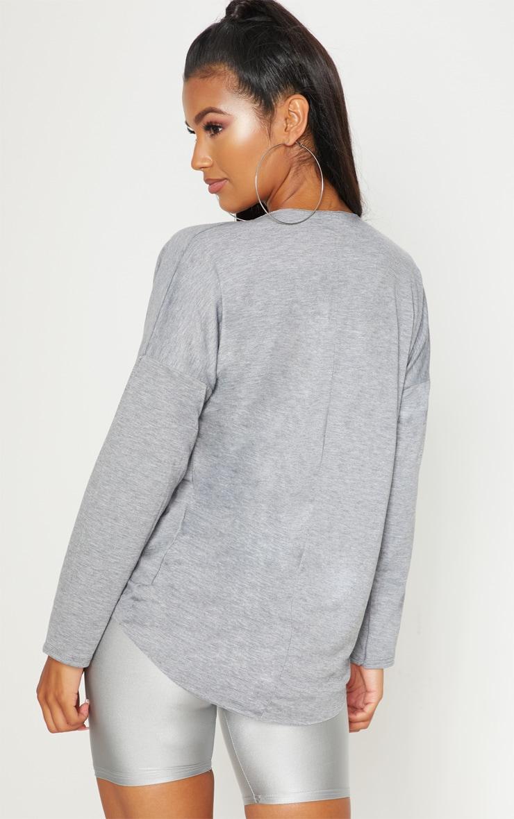 Grey Jersey Drape Wrap Top 2