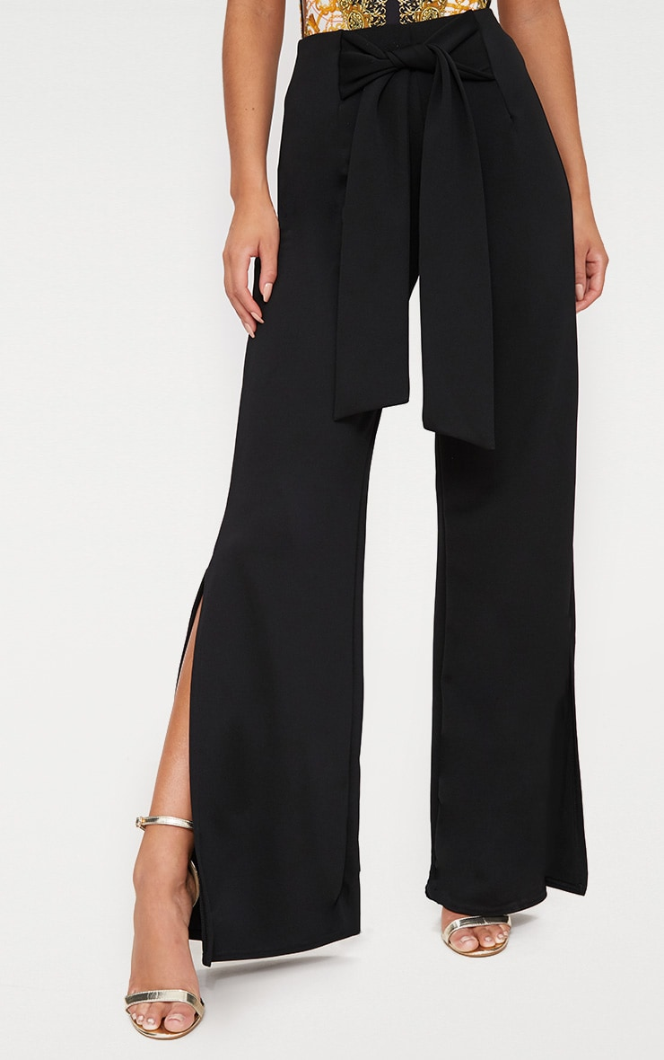 Black Tie Waist Split Leg Wide Leg Trousers 2
