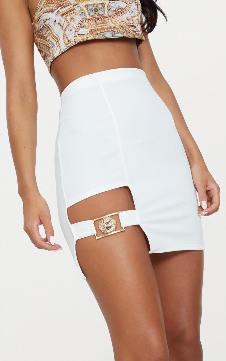 White Lion Head Buckle Detail Mini Skirt  6