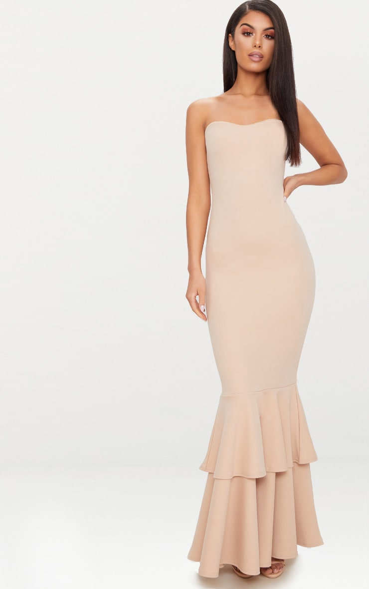 Nude Bandeau Tiered Fishtail Maxi Dress 1