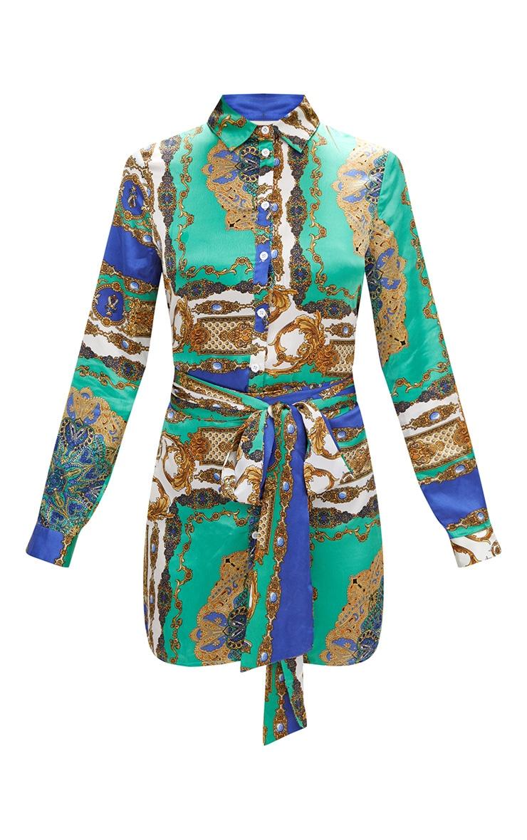 Green Satin Scarf Print Tie Waist Shirt Dress 3