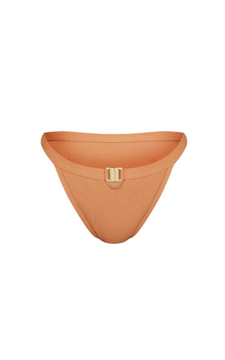 Mocha Crinkle Front Clasp Tanga Bikini Bottom 5