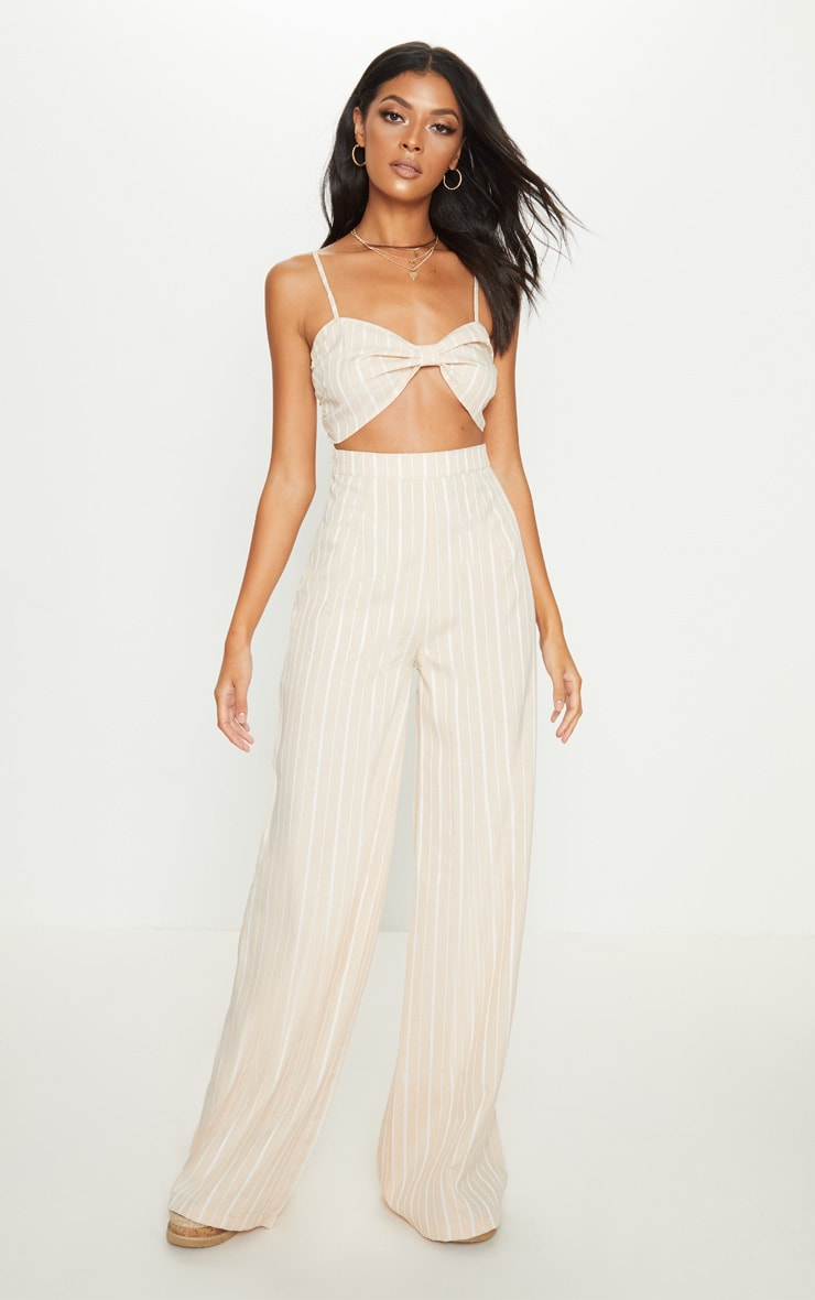 Nude Stripe Wide Leg Trouser