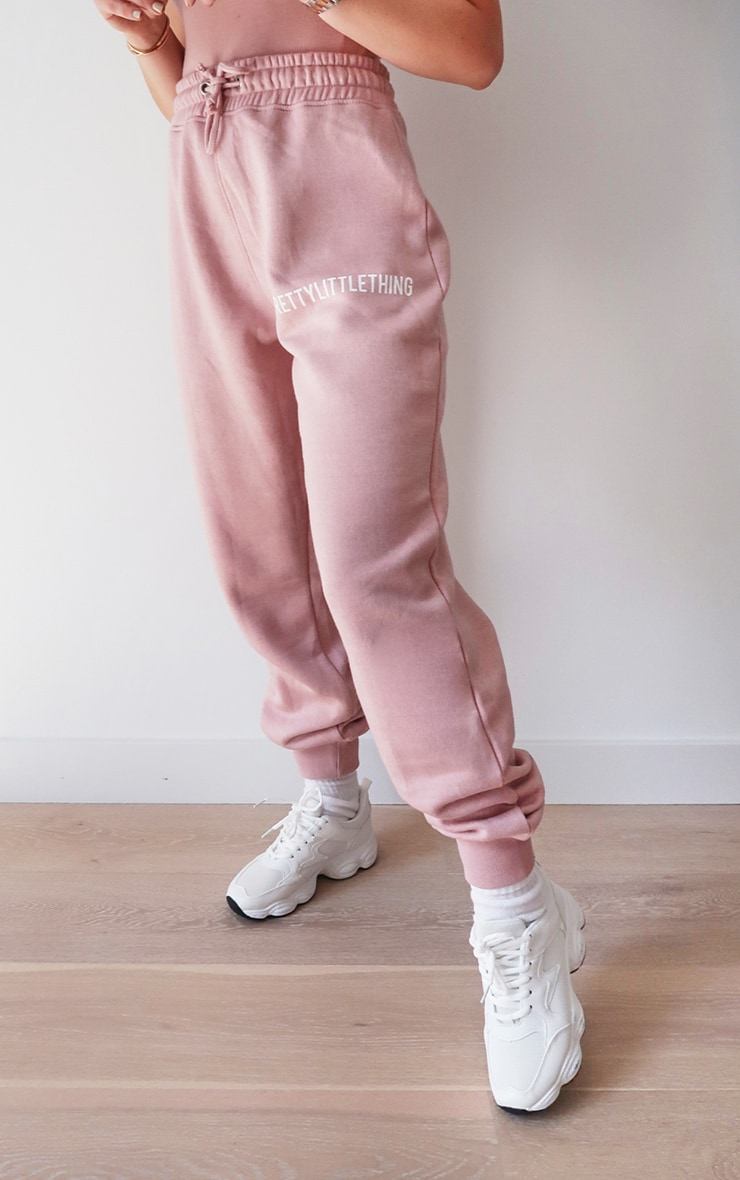 PRETTYLITTLETHING Lilac Embroidered Slogan Joggers 2