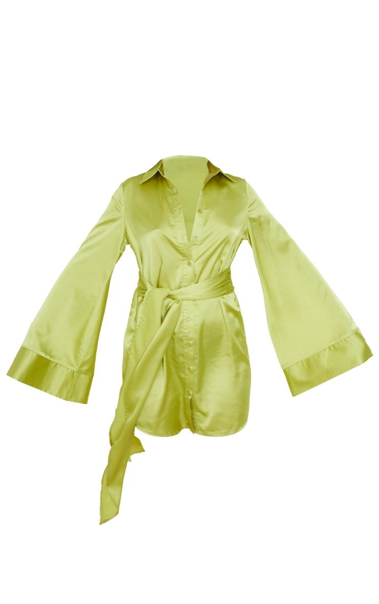 Olive Satin Exaggerated Sleeve Tie Waist Shirt Dress 5