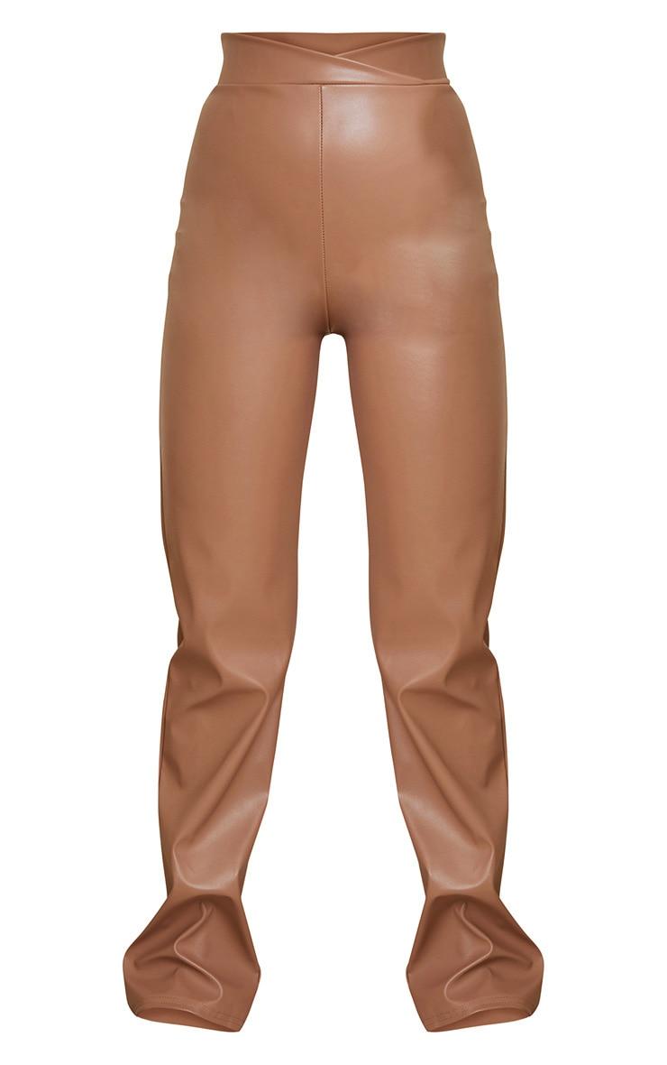 Stone Dip Waist Straight Leg Faux Leather Pants 5