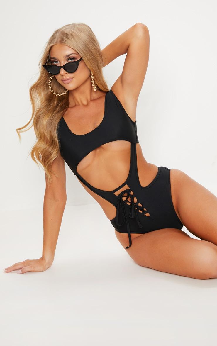 Black Lace Up Under Bust Cut Out Swimsuit 5