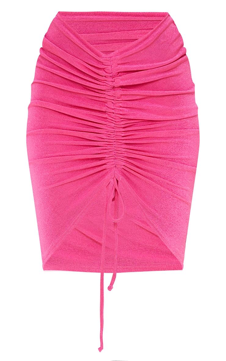 Hot Pink Acetate Slinky V Front Ruched Midi Skirt 5