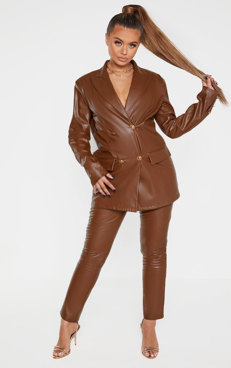 Brown PU Oversized Double Breasted Pocket Front Blazer 4