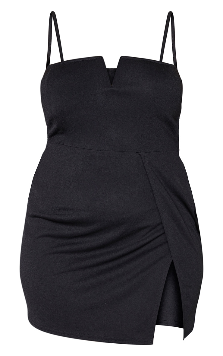 Plus Black Extreme Thigh Split Panelled Plunge Bodycon Dress 5