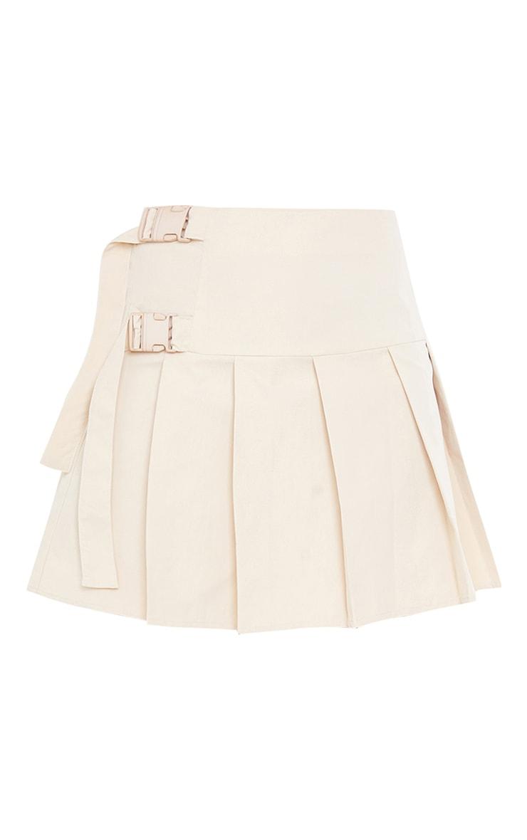 Cream Buckle Detail Woven Pleated Mini Skirt 6