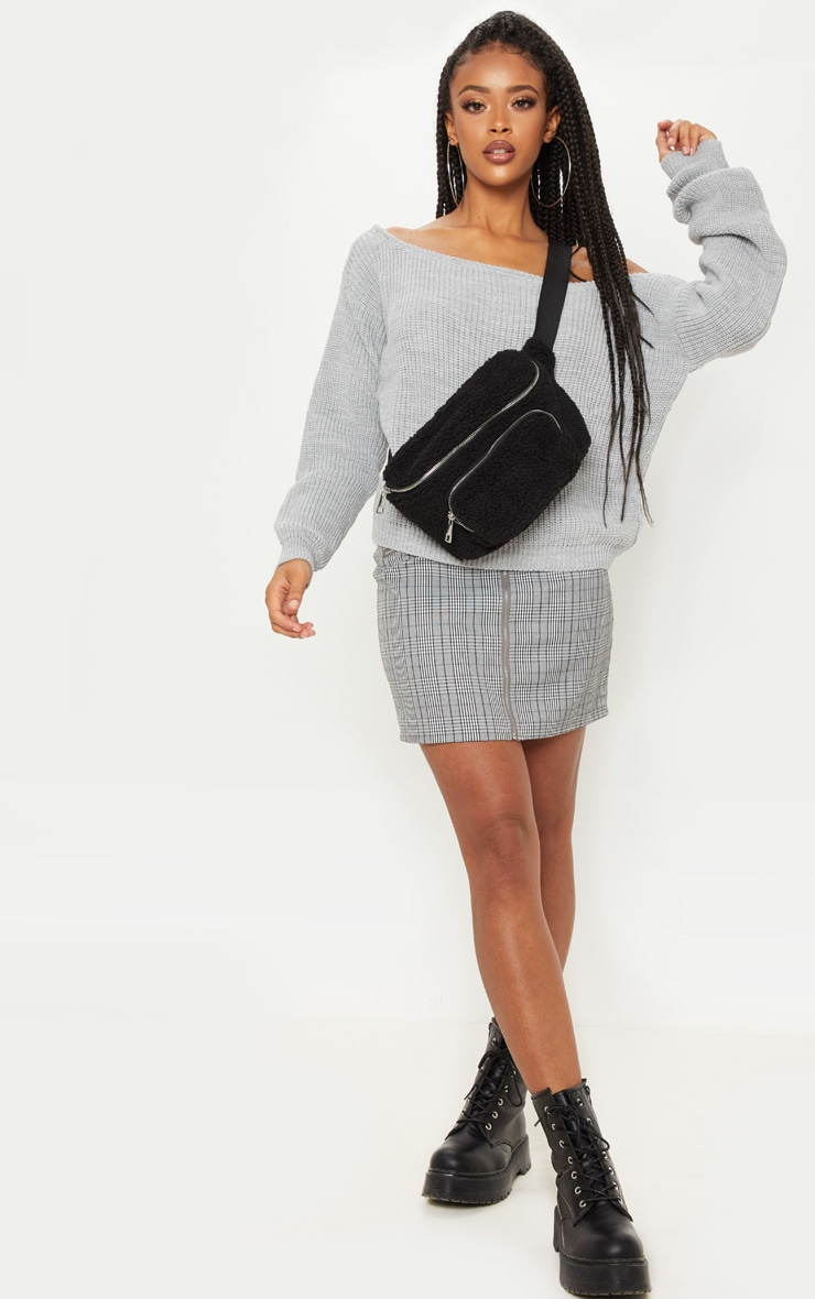Grey Off The Shoulder Knitted Jumper 4