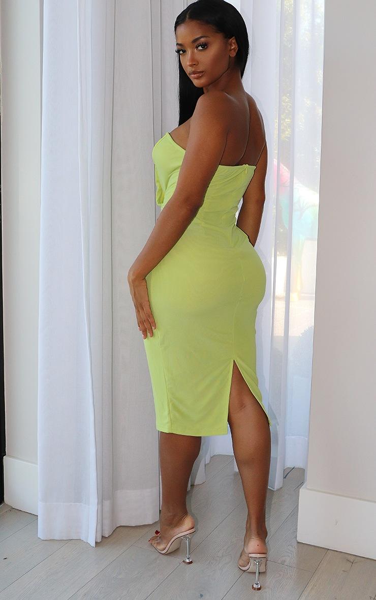 Shape Lime Mesh Binding Detail Hook And Eye Midi Dress 2