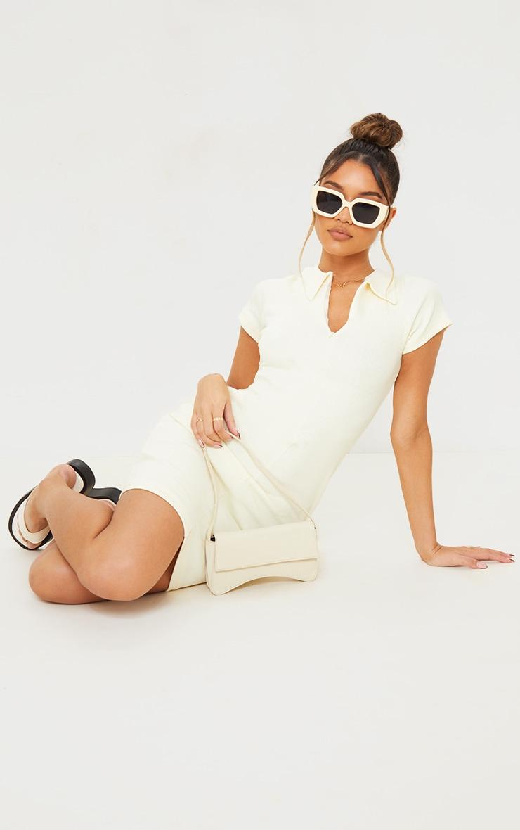 Black Thick Rib Zip Up Polo Collar Bodycon Dress image 4