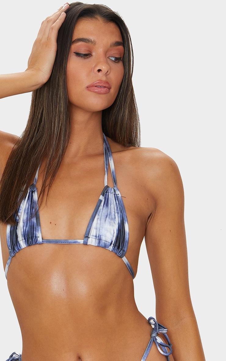 Navy Tie Dye Mini Ruched Tie Side Bikini Bottom 4
