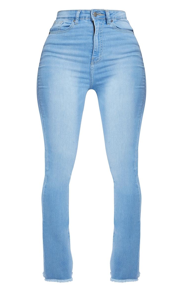 Shape Light Blue Wash Stretch Fray Hem Flared Jean 5